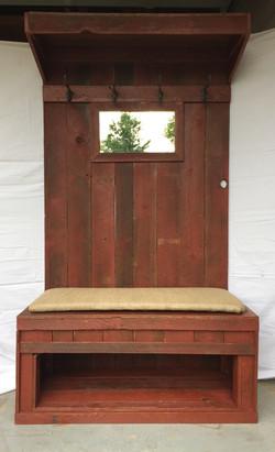 Rustic Barn Wood Hall Tree w/Mirror