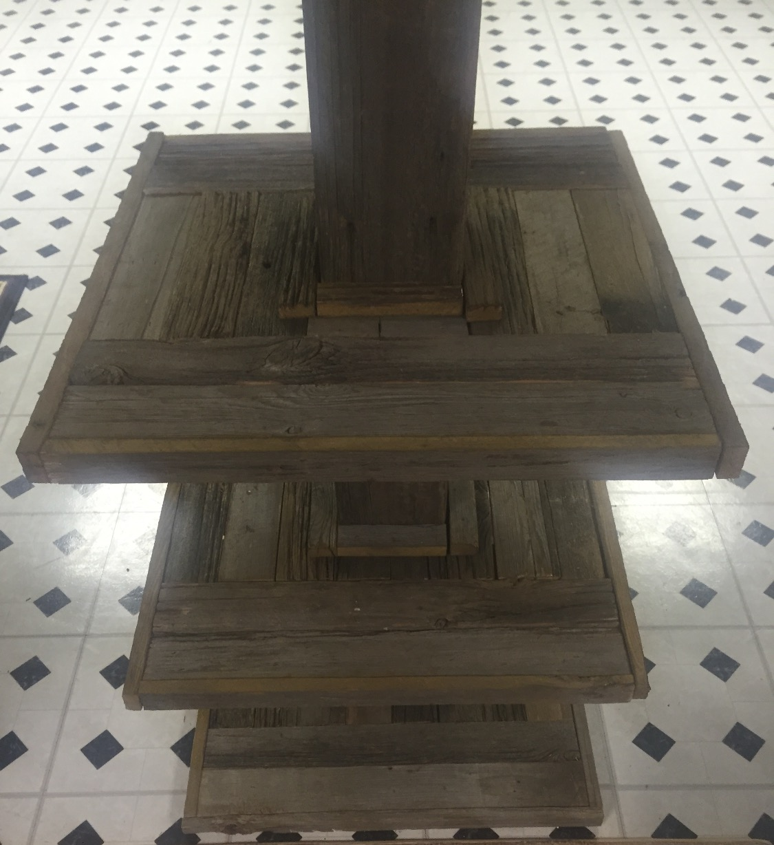 Barn Wood Basement Pole Table