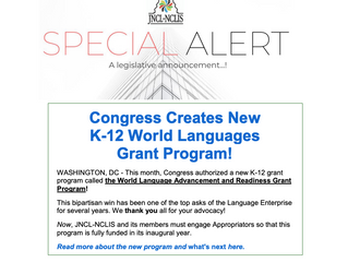Congress Creates New K-12 World Languages Program