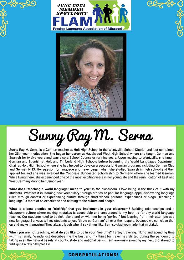 Sunny Ray Serna - June 2021 FLAM Member