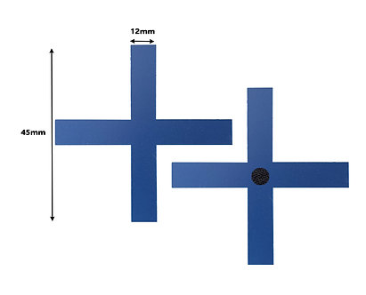 BOX OF 100 Blue Cross Tracking Markers 45mm