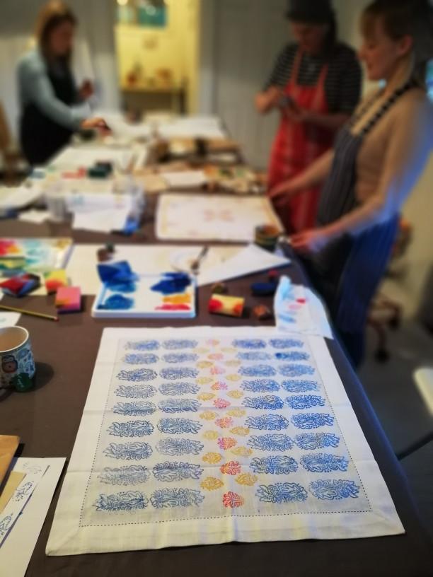 Block printing workshop by Astrid Blake