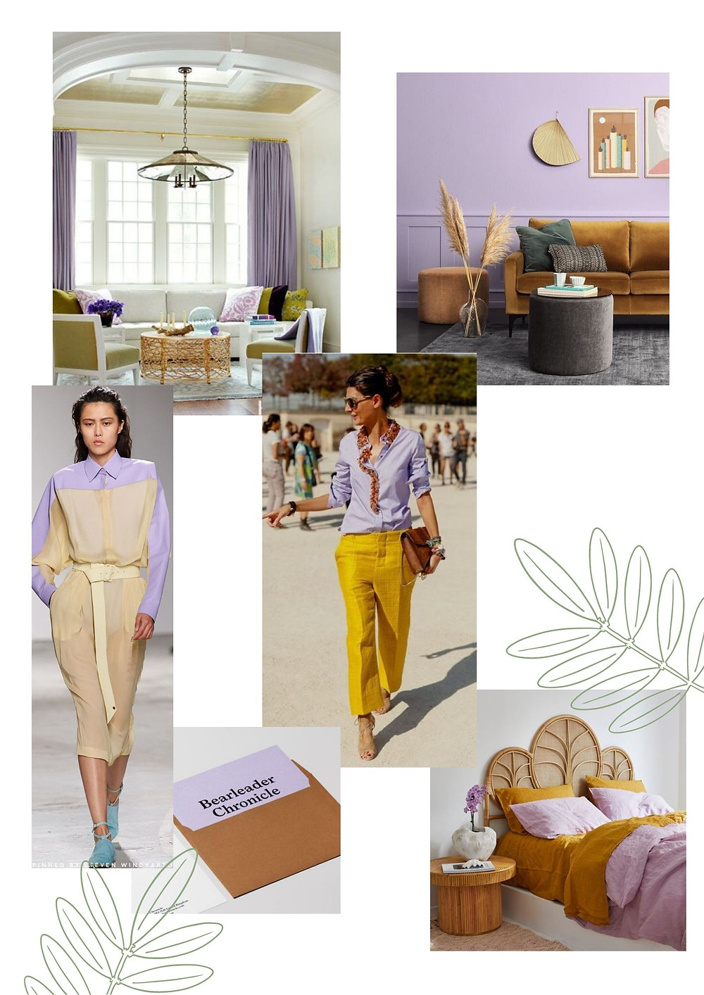 Mood board and colour palette by Astrid Blake lilac, mustard and green