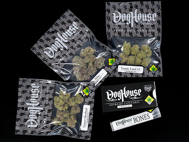 Doghouse Supreme Cannabis Bones joint packs, Tangieland #5 cannabis, Doghouse Dr Who cannabis, and Sunset Sherbert weed.