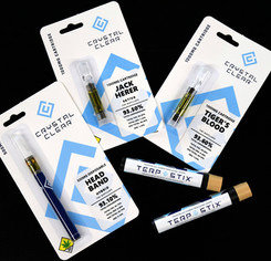 Crystal Clear vape cartridges, Crystal Clear disposable vape pen, and Terp Stix infused joints from Northwest Cannabis Solutions