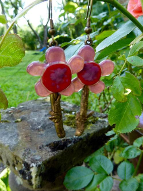 Boucles d'oreilles Fleurs et bronze