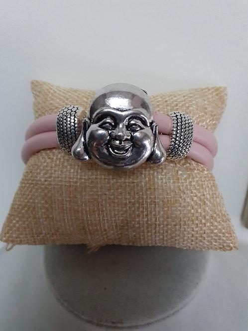 Bracelet cuir rose bouddha