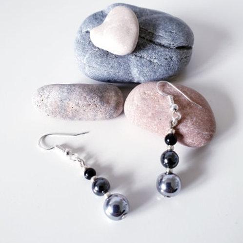 Boucles d'oreilles Hématie, Quartz rose ou Onyx-Hématite