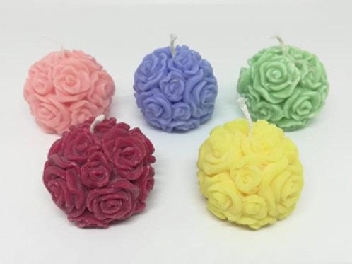 Bougie artisanale moulée forme fleur