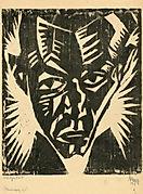 Herbert Anger, Selbstbildnis Holzschnitt 1919