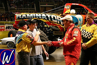 Mark Hall of Raminator receiving 2005 WMTRL Monster Truck Racing trophy