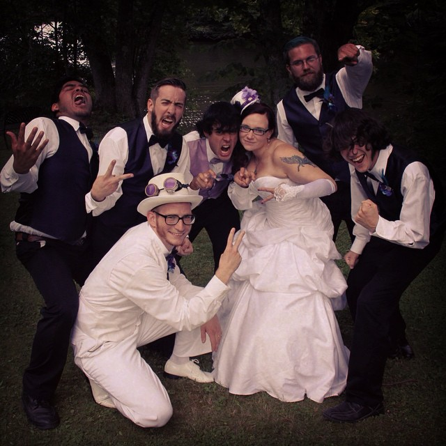 Fun one from last weekend-bride and groom with band mates A Ok