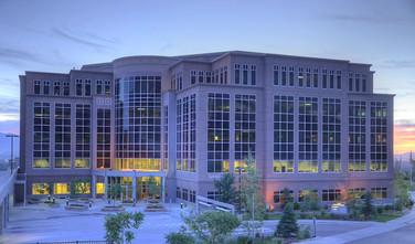 Salt Lake Office Building at dusk