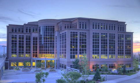 Salt Lake Office Building at dusk