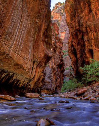 Zion Narrows with White Streaks