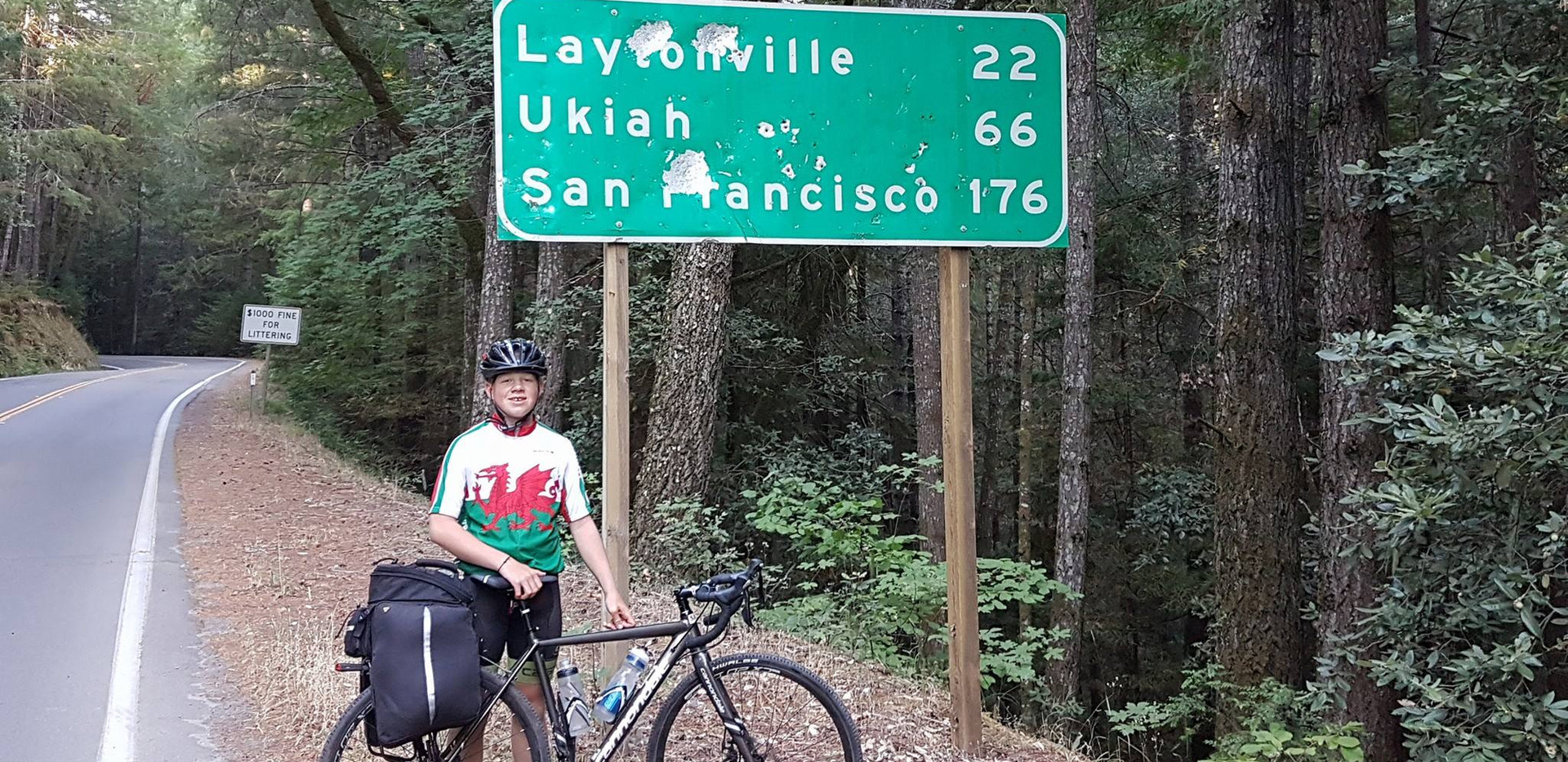 Ethan Langley age 15 cycling road sign S