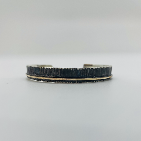 Sterling Silver Cuff with14KGF Accent