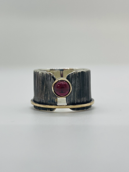 Garnet with sterling silver band and 14K gold filled accents