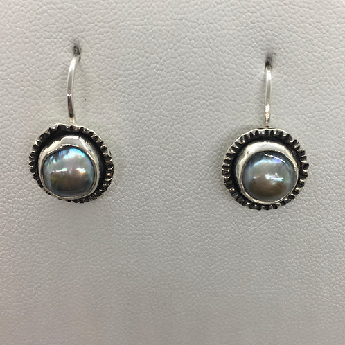 Sterling silver with dark grey fresh water pearls