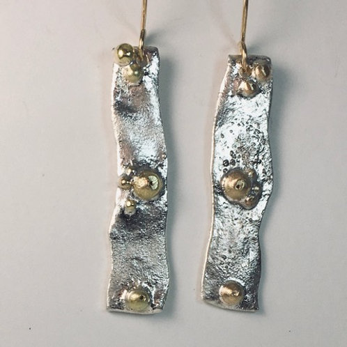 Reticulated silver with 14k gold accents
