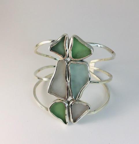 Puerto Rican sea glass, sterling silver cuff bracelet