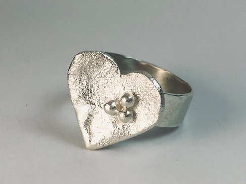 Reticulated silver heart with sterling silver band