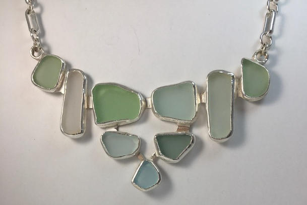 Puerto Rican sea glass, sterling silver necklace
