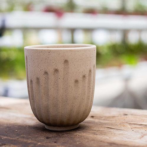 KOA & acre small  13cm x 11cm -Brown Vertical Striped handmade planter pot