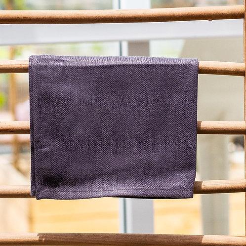 Pure Linen Katerina Tea towel Herringbone Charcoal