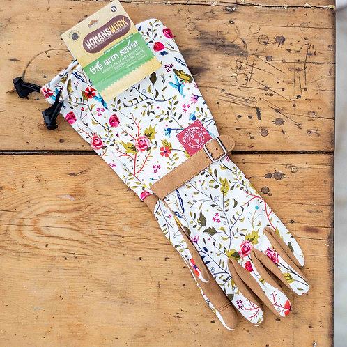 Womanswork Pink Floral Twill Garden Glove with Arm saver Medium