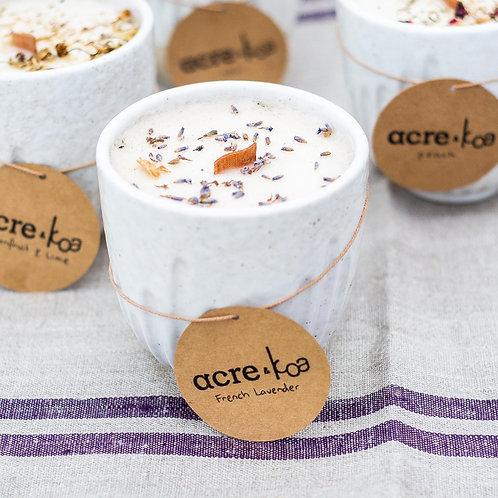 KOA & acre Small Ceramic Potted Candle  10cm x 10cm- Lavender scented