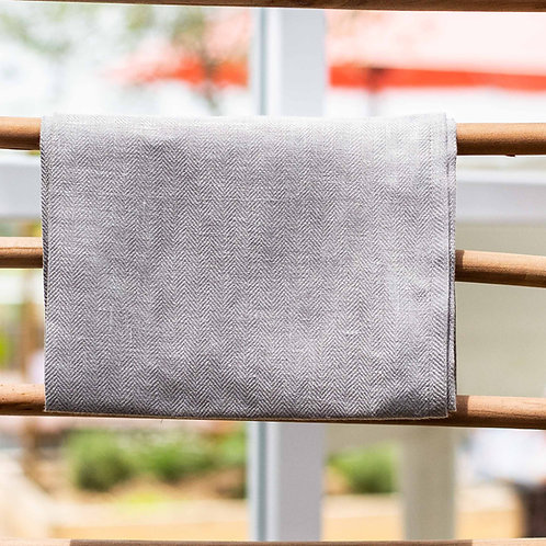 Pure Linen Katerina Tea towel Herringbone - Pewter