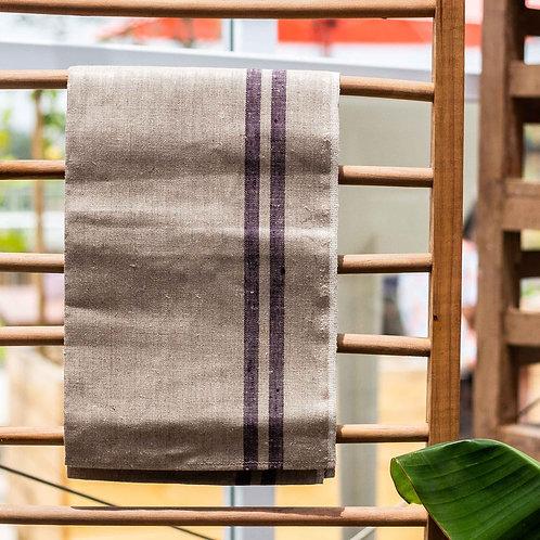 Pure Linen bertha tea towel - flax & indigo boarder
