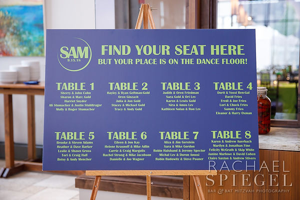 Bar Mitzvah Seatig Arrangement Sign