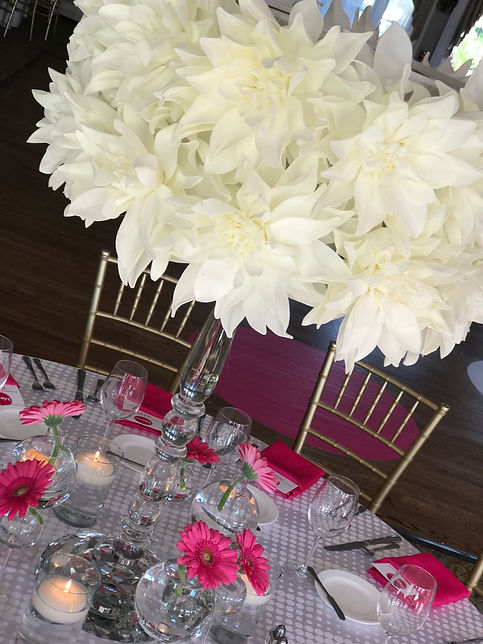 Foam Flower Centerpiece Tablescape