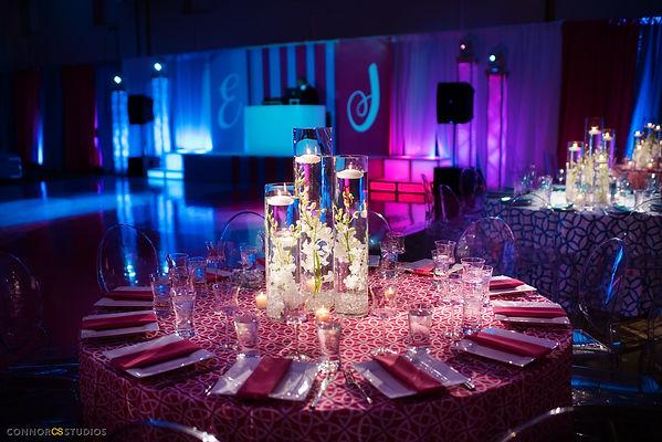 Custom dance floor, DJ booth, mitzvah decor, B'nai mitzvah decor, centerpiece, orchid centerpiece, table setting
