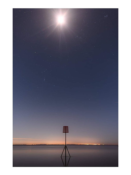 Moon over Lytham jetty A3