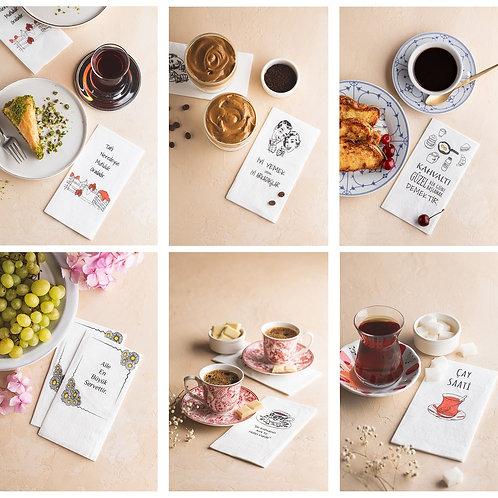 NapkinStore  6'lı Mix Paket Tasarım Peçete