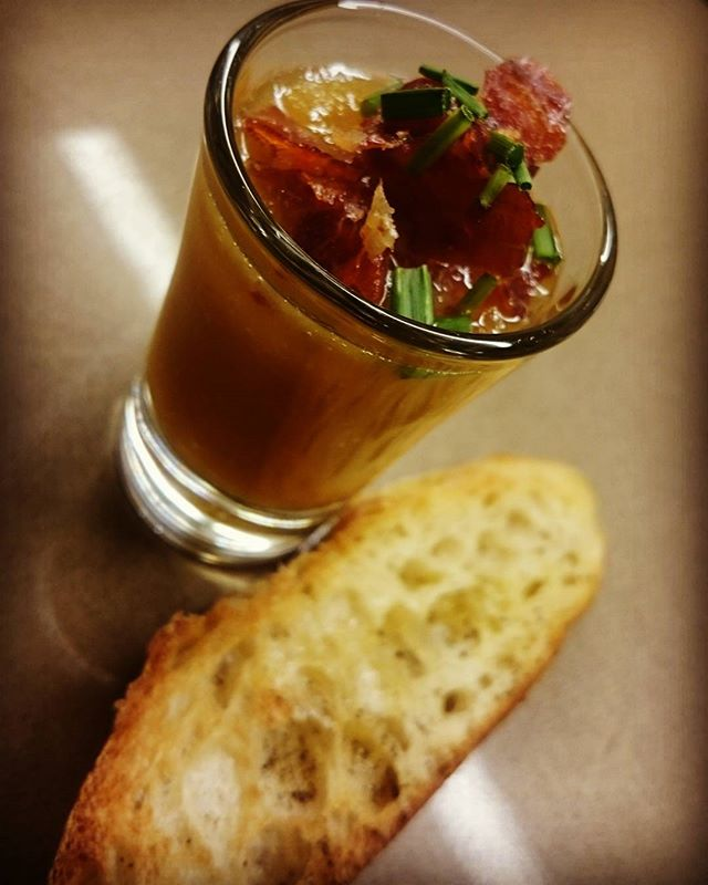 Saturday nights Amuse Bouche for some new clients.  Cantaloupe and lime with prosciutto crisp shoote
