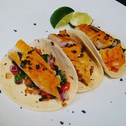Chef at Home Saturday nights dinner.  1st course, spiced fish tacos