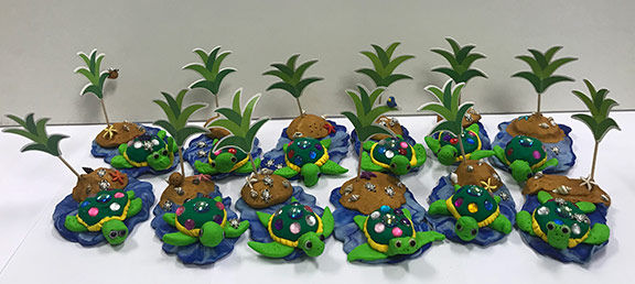 art smart kids art classes summer camps tropical turtle jewels clay sculpture polymer drawing painting island palm trees