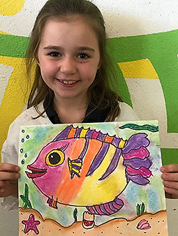 art classes kids art smart pastel painting colorful fish drawing clay sculpture