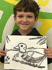 charcoal art duck drawing kids art