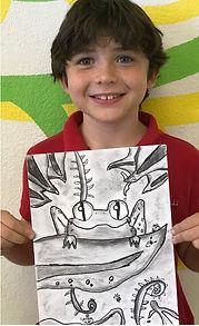 charcoal frog kids art drawing art smart leaves