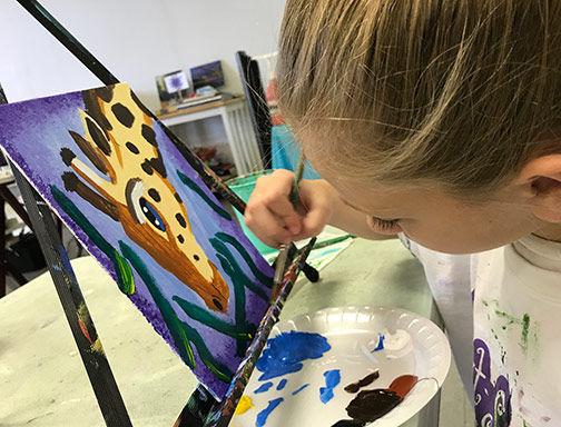art smart classes kids art painting giraffe acrylic canvas drawing clay sculpture summer camps kids