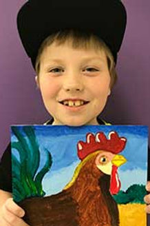 kids art painting canvas rooster bird drawing clay sculpture