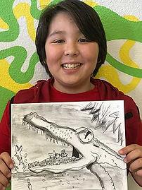 charcoal drawing kids art cartoon classes shading sketching gator