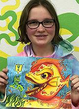 watercolor crazy fish kids art classes drawing painting