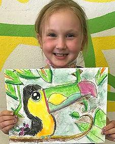 pastel toucan cartoon drawing bird kids art painting