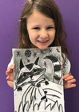 charcoal raccoon kids art autumn drawing goartsmart